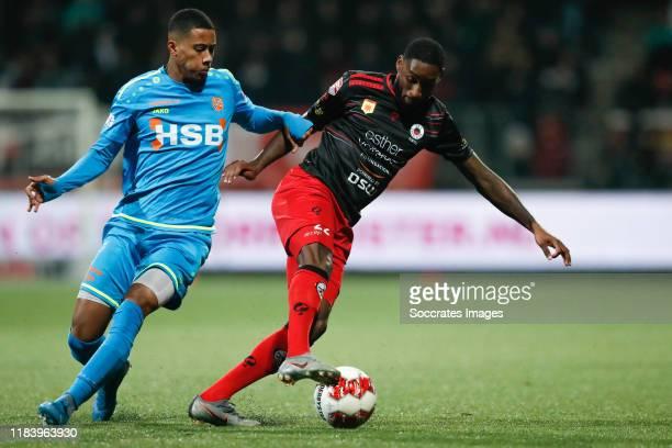 Noah Fadiga of FC Volendam, Jeffry Fortes of Excelsior Rotterdam during the Dutch Keuken Kampioen Divisie match between Excelsior v FC Volendam at...