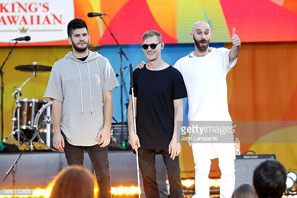 """Noah Feldshuh, Casey Harris and Sam Harris of X Ambassadors pose onstage on ABC's """"Good Morning America"""" at SummerStage at Rumsey Playfield, Central..."""