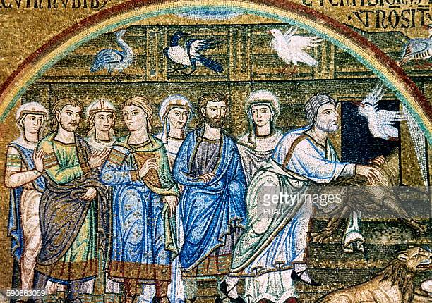 Noah free the animals of the ark Mosaic from the Pala d'Oro or Golden Altar 12th14th centuries Saint Mark's Basilica in Venice Italy