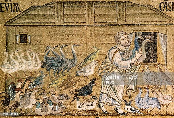 Noah free the animals of the ark Mosaic from the Pala d'Oro or Golden Altar 12th14th centuries Saint Mark's Basilica Venice Italy