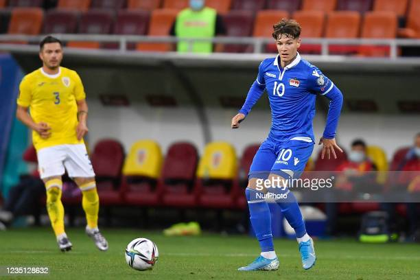 Noah Frick in action during the FIFA World Cup qualifying round game between Romania and Liechtenstein, played in Bucharest, 05 September 2021.