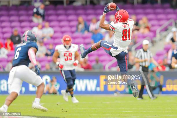 Noah Frith of the Liberty Flames catches a pass during the second quarter of the 2019 Cure Bowl against the Georgia Southern Eagles at Exploria...