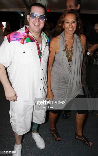 Noah G Pop and Donna Karan attend the 11th annual Art For Life benefit party at Russell Simmons' East Hampton Estate on July 24 2010 in East Hampton...