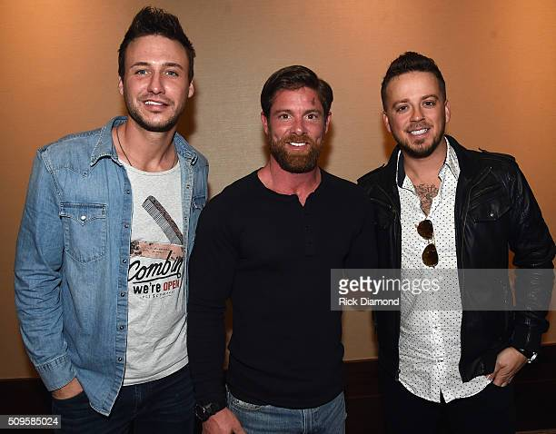 Noah Galloway with Singers/Songwriters Eric Gunderson and Steven Barker attend CRS 2016 Day 2 at the Omni Hotel on February 9 2016 in Nashville...