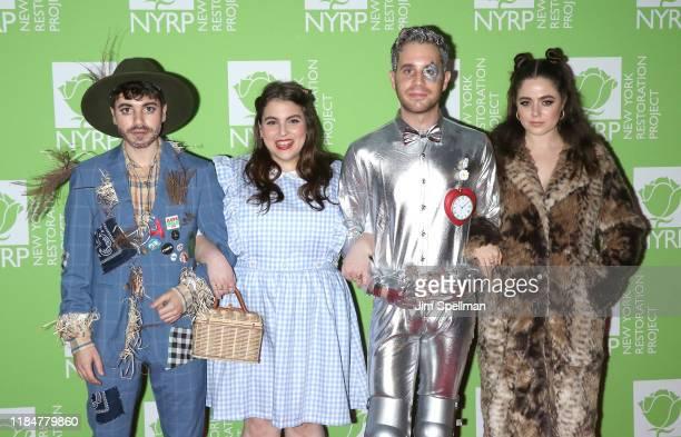 Noah Galvin, Beanie Feldstein, Ben Platt and Molly Gordon attend Bette Midler's 2019 Hulaween at New York Hilton Midtown on October 31, 2019 in New...