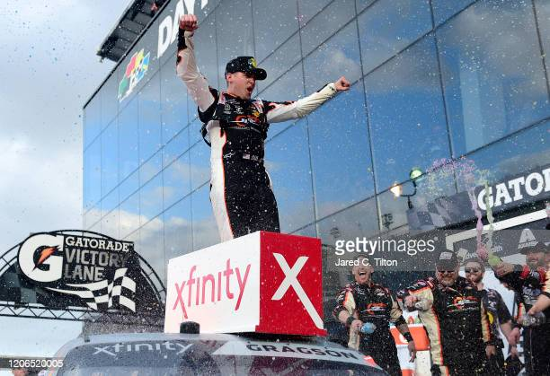 Noah Gragson driver of the Bass Pro Shops/BRCC Chevrolet celebrates in Victory Lane after winning the NASCAR Xfinity Series NASCAR Racing Experience...
