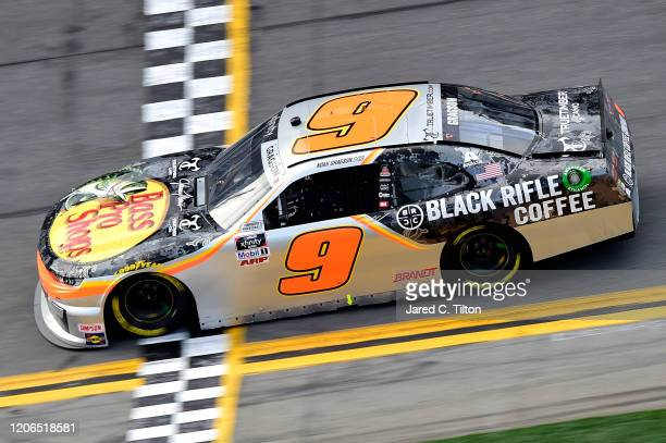 Noah Gragson driver of the Bass Pro Shops/BRCC Chevrolet crosses the finish line to win the NASCAR Xfinity Series NASCAR Racing Experience 300 at...