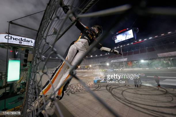 Noah Gragson, driver of the Plan B Sales Chevrolet, celebrates after winning the NASCAR Xfinity Series Cheddar's 300 presented by Alsco at Bristol...