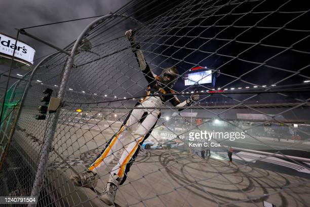 Noah Gragson driver of the Plan B Sales Chevrolet celebrates after winning the NASCAR Xfinity Series Cheddar's 300 presented by Alsco at Bristol...