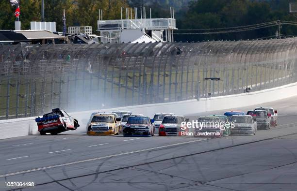 Noah Gragson driver of the Safelite AutoGlass Toyota is involved in an ontrack incident on the final lap during the NASCAR Camping World Truck Series...