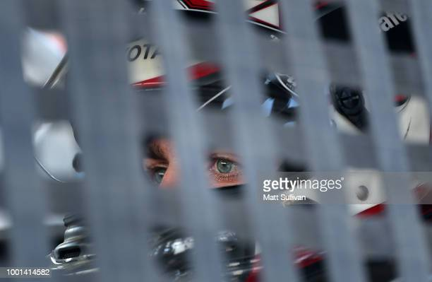 Noah Gragson driver of the Safelite AutoGlass Toyota sits in his truck during qualifying for the NASCAR Camping World Truck Series Eldora Dirt Derby...