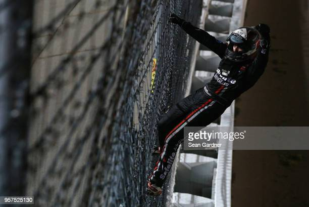 Noah Gragson driver of the Safelite Toyota celebrates after winning the NASCAR Camping World Truck Series 37 Kind Days 250 at Kansas Speedway on May...