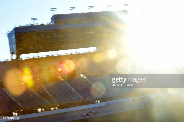 Noah Gragson driver of the Switch Toyota leads Chase Briscoe driver of the Cooper Standard Ford during practice for the NASCAR Camping World Truck...