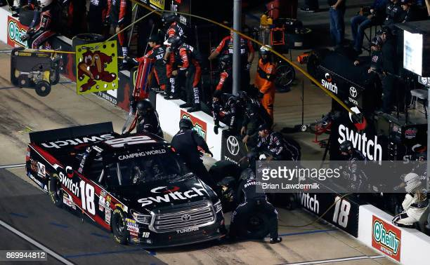 Noah Gragson driver of the Switch Toyota pits during the NASCAR Camping World Truck Series JAG Metals 350 Driving Hurricane Harvey Relief at Texas...
