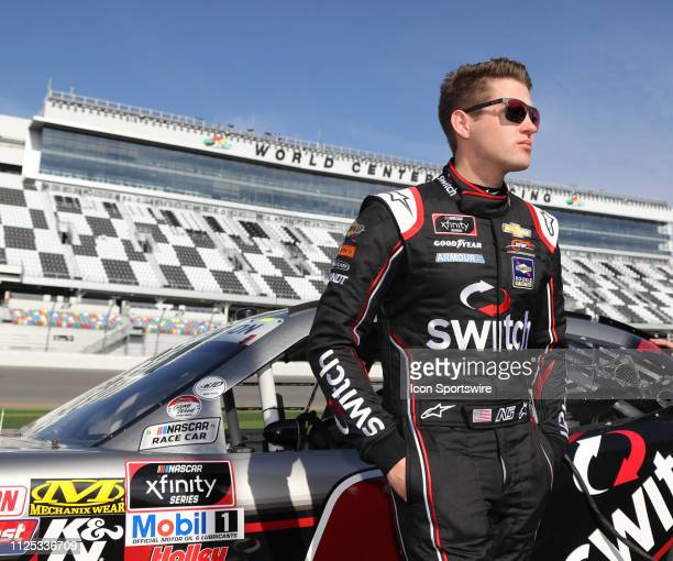 Noah Gragson JR Motorsports Chevrolet Camaro Switch during qualifying for the NASCAR Racing Experience 300 on February 16 2019 at Daytona...