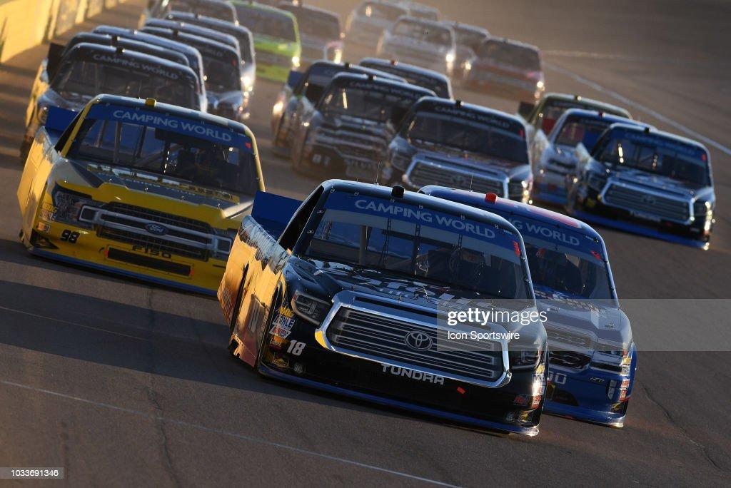 Noah Gragson (18) Safelite Auto Glass Kyle Busch Racing Toyota Tundra Leads  The Field