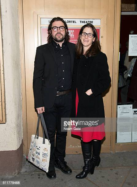 Noah Haidle and Anne Kauffman attend Smokefall opening night at Lucille Lortel Theatre on February 22 2016 in New York City