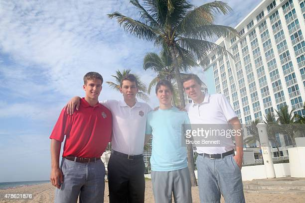 Noah Hanafin Dylan Strome Mitchell Marner and Connor McDavid pose for a photo op on the beach at the Westin Beach Resort Spa on June 26 2015 in Fort...