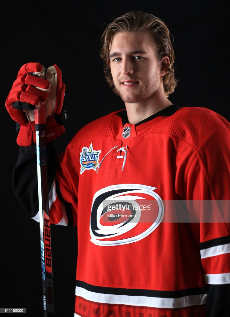 Noah Hanifin #5 of the Carolina Hurricanes poses for a portrait during the 2018 NHL All-Star at Amalie Arena on January 27, 2018 in Tampa, Florida.
