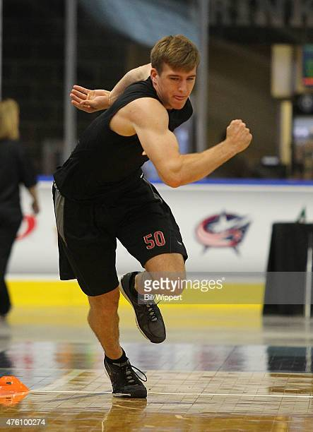 Noah Hanifin performs an agility test during the NHL Combine at HarborCenter on June 6 2015 in Buffalo New York