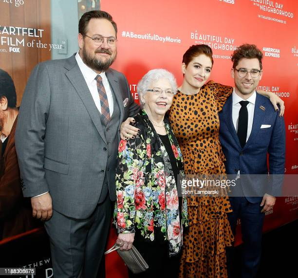 Noah Harpster Joanne Rogers Marielle Heller and Micah FitzermanBlue attend A Beautiful Day In The Neighborhood New York screening at Henry R Luce...