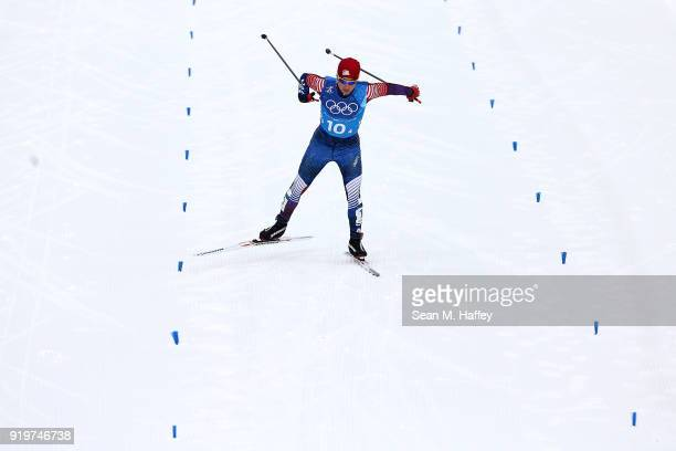 Noah Hoffman of the United States competes in the final leg during CrossCountry Skiing men's 4x10km relay on day nine of the PyeongChang 2018 Winter...