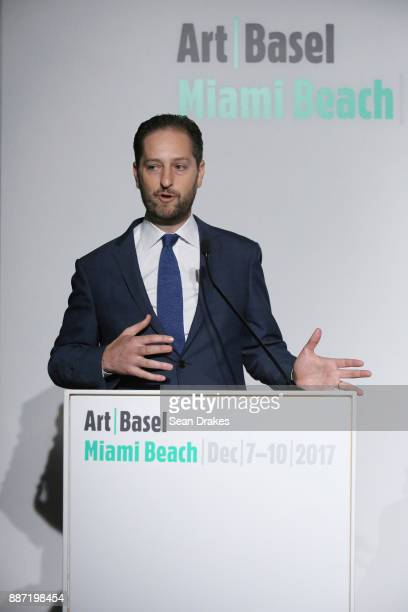 Noah Horowitz Director Americas Art Basel talks during a media conference at Art Basel Miami Beach on December 06 2017 in Miami United States