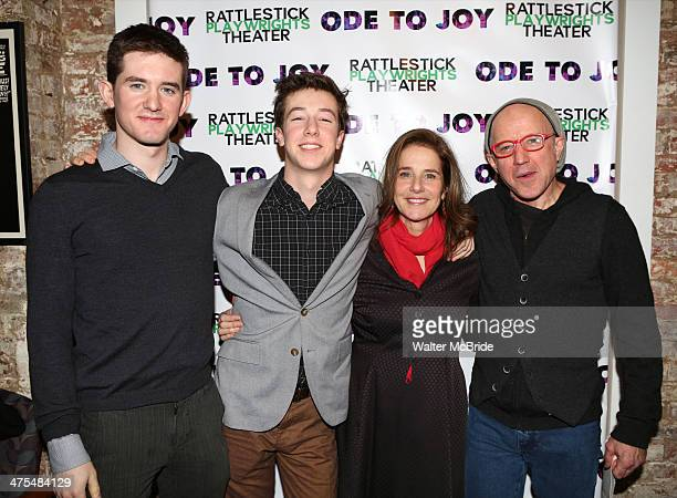Noah Hutton Gideon Babe Ruth Howard Debra Winger and Arliss Howard attend the opening night of Ode To Joy at Cherry Lane Theatre on February 27 2014...