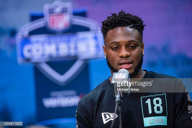 Noah Igbinoghene #DB18 of the Auburn Tigers speaks to the media on day four of the NFL Combine at Lucas Oil Stadium on February 28 2020 in...