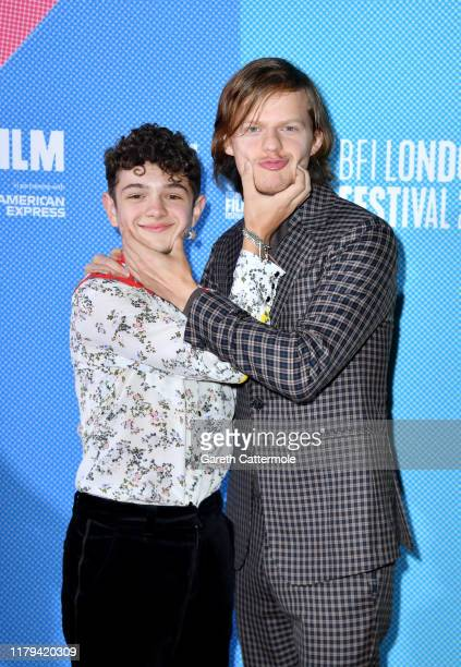 Noah Jupe and Lucas Hedges attend the Honey Boy European Premiere during the 63rd BFI London Film Festival at the Vue West End on October 06 2019 in...