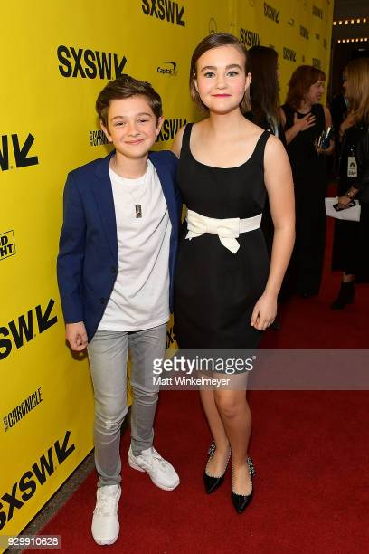Noah Jupe and Millicent Simmonds attend the A Quiet Place Premiere 2018 SXSW Conference and Festivals at Paramount Theatre on March 9 2018 in Austin...