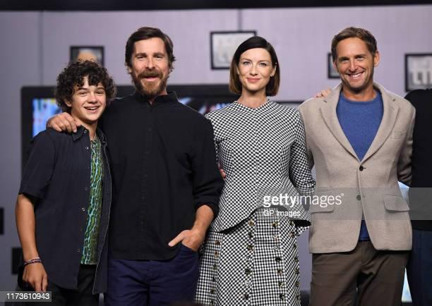 "Noah Jupe, Christian Bale, Caitriona Balfe, and Josh Lucas attend the ""Ford v Ferrari"" press conference during the 2019 Toronto International Film..."