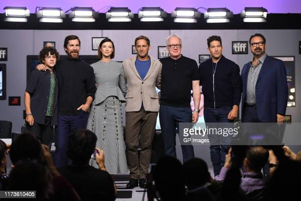 "Noah Jupe, Christian Bale, Caitriona Balfe, Josh Lucas, Tracy Letts, Jon Bernthal, and James Mangold attend the ""Ford v Ferrari"" press conference..."