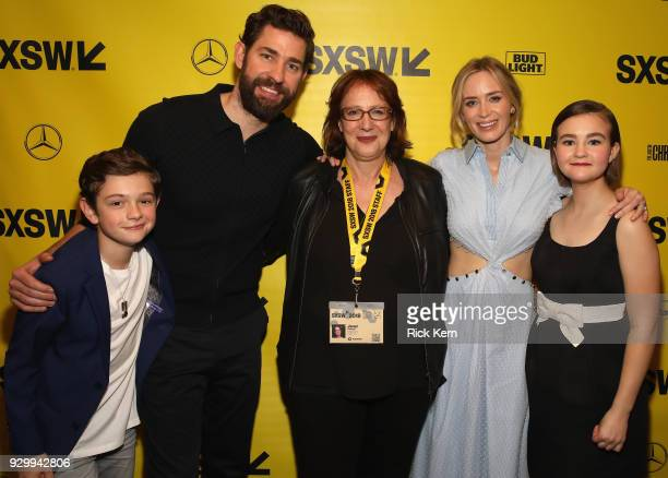 Noah Jupe, John Kransinski, Janet Pierson, Emily Blunt, Millicent Simmonds attend the Opening Night Screening and World Premiere of 'A Quiet Place'...