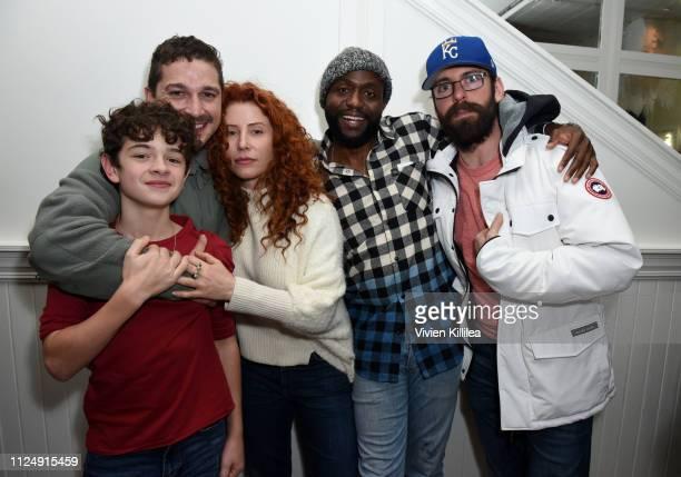 "Noah Jupe Shia LaBeouf Alma Har'el Byron Bowers and Martin Starr at the ""Honey Boy"" party at DIRECTV Lodge presented by ATT at Sundance Film Festival..."
