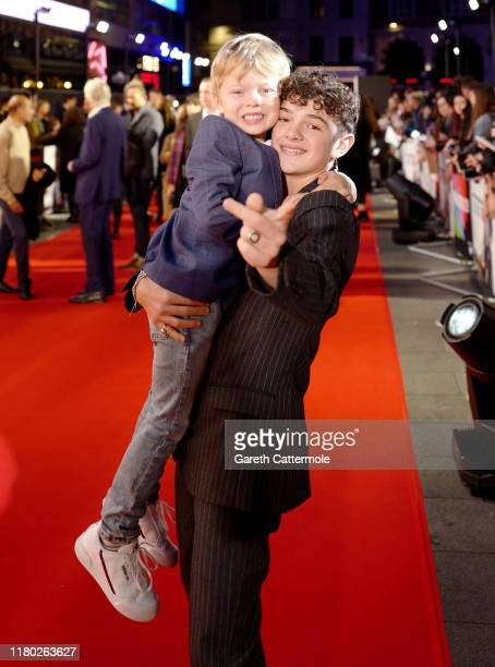 Noah Jupe with his brother Jacobi Jupe as they attend the Le Mans '66 Premiere during the 63rd BFI London Film Festival at the Odeon Luxe Leicester...