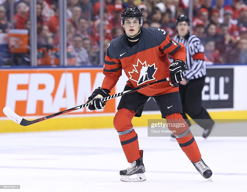 Noah Juulsen #3 of Team Canada skates against Team USA during a preliminary round game in the 2017 IIHF World Junior Hockey Championship at the Air Canada Centre on December 31, 2016 in Toronto, Ontario, Canada. The USA defeated Canada 3-1.
