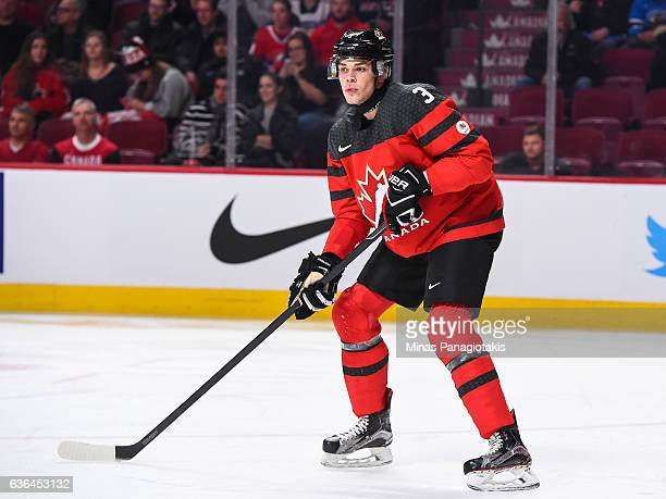 Noah Juulsen of Team Canada skates during the IIHF exhibition game against Team Finland at the Bell Centre on December 19 2016 in Montreal Quebec...