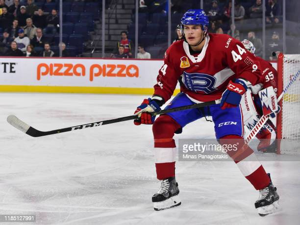 Noah Juulsen of the Laval Rocket skates against the Hartford Wolf Pack at Place Bell on October 30 2019 in Laval Canada The Laval Rocket defeated the...