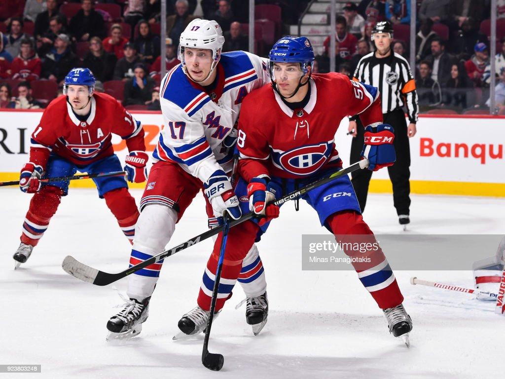 Noah Juulsen of the Montreal Canadiens defends in his ...