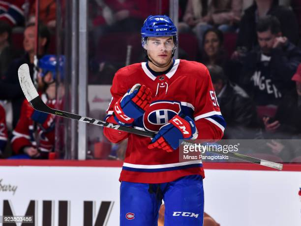 Noah Juulsen of the Montreal Canadiens looks on in his first ever NHL game against the New York Rangers at the Bell Centre on February 22 2018 in...