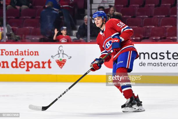 Noah Juulsen of the Montreal Canadiens makes his NHL debut as he skates during the warmup against the New York Rangers prior to the NHL game at the...