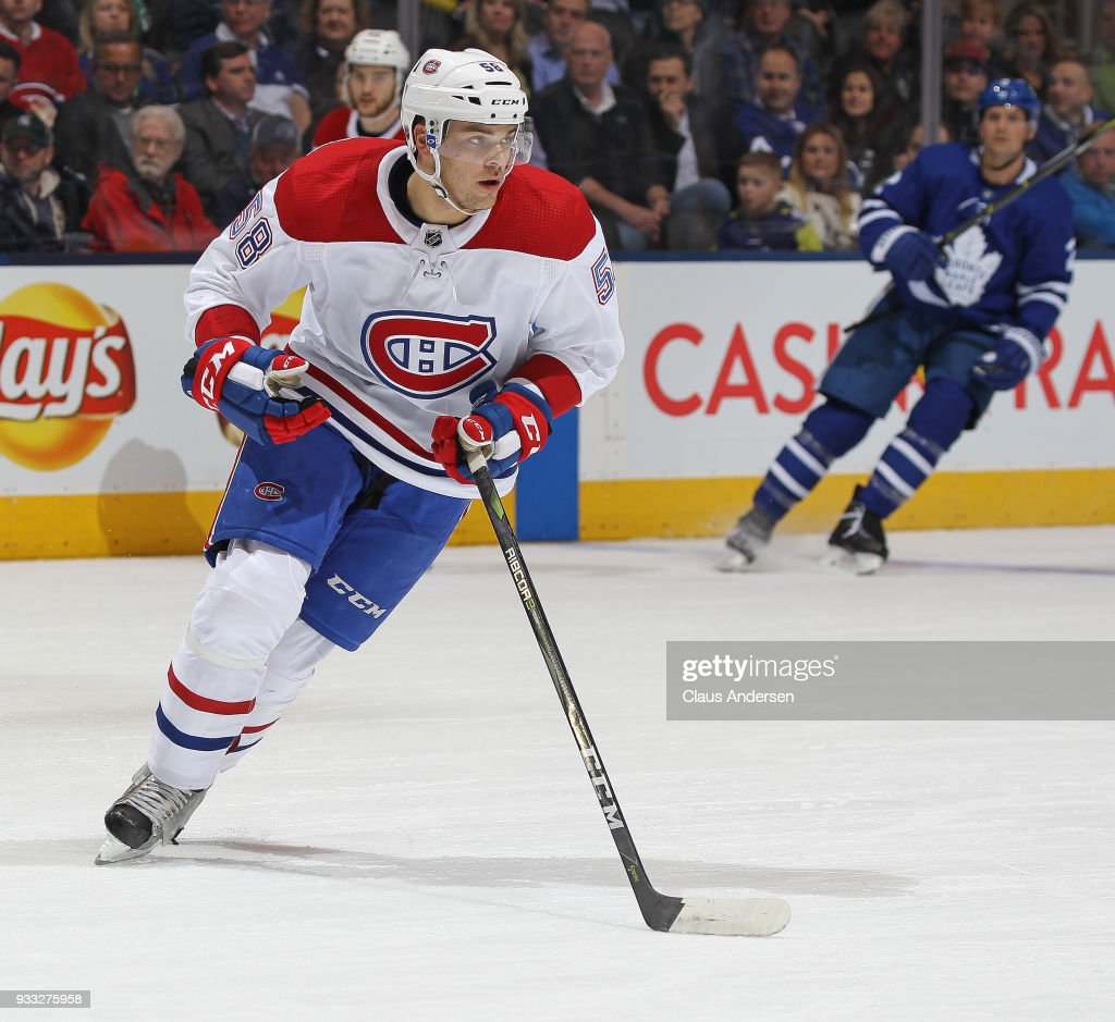 Noah Juulsen #58 of the Montreal Canadiens skates against the Toronto Maple Leafs during an NHL game at the Air Canada Centre on March 17, 2018 in Toronto, Ontario, Canada. The Maple Leafs defeated the Canadiens 4-0.