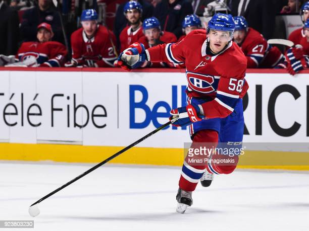 Noah Juulsen of the Montreal Canadiens skates in his first ever NHL game against the New York Rangers at the Bell Centre on February 22 2018 in...