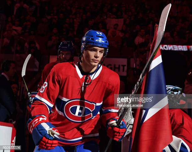 Noah Juulsen of the Montreal Canadiens takes to the ice prior the NHL game against the Dallas Stars at the Bell Centre on March 13 2018 in Montreal...