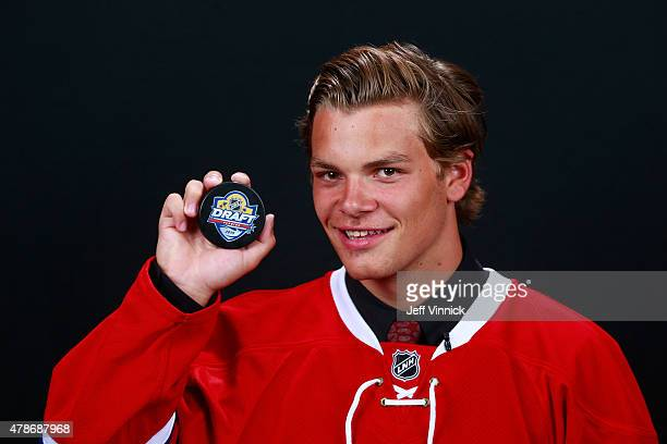 Noah Juulsen poses for a portrait after being selected 26th overall by the Montreal Canadiens during Round One of the 2015 NHL Draft at BBT Center on...