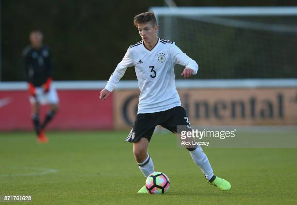 Noah Katterbach of Germany U17 controls the ball during the International match between Russia U17 and Germany U17 at St Georges Park on November 8...
