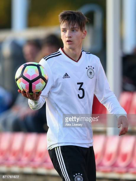 Noah Katterbach of Germany U17 takes a throw in during the International match between Russia U17 and Germany U17 at St Georges Park on November 8...