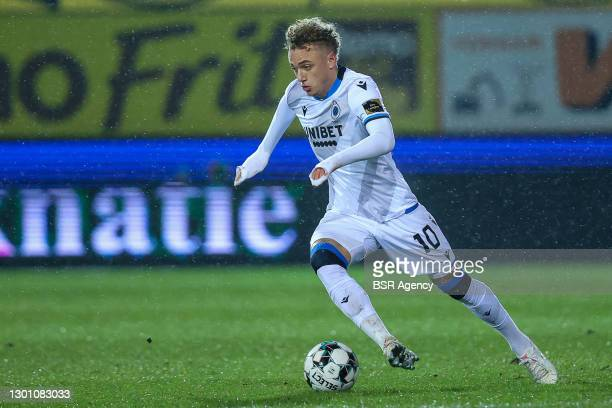 Noah Lang of Club Brugge during the Pro League match between Waasland Beveren and Club Brugge at Freethielstadium on February 6, 2021 in Beveren,...