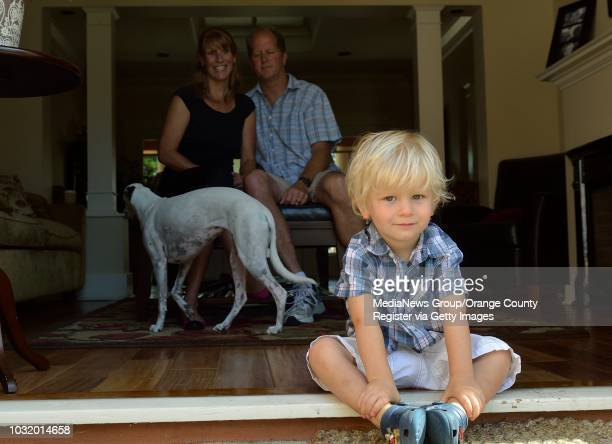 BEACH CALIF USA Noah Larson with his parents David Larson and Michelle Zarzena on May 31 in their Long Beach Calif home Noah was born deaf he had...